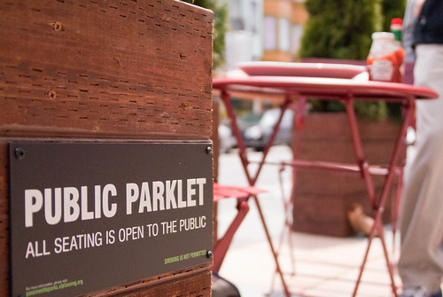 15949 Sign on north end of public parklet installed on second weekend