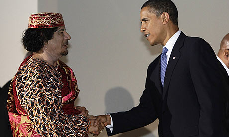 Gaddafi Libyan leader Muammar Gadaffi greets US President Barack Obama at the G8 Summit in Italy in 2009.