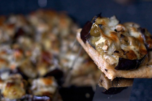 grilled eggplant and olive pizza