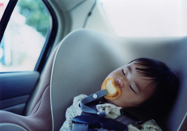 SAKURAKO. Sleep in car.