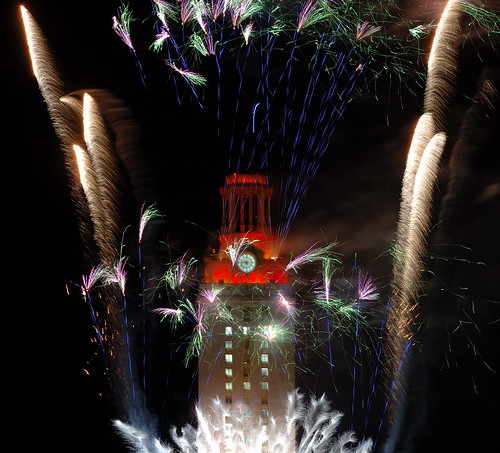 The University of Texas Tower at Graduation with Fireworks - II