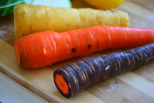 Three colour carrots