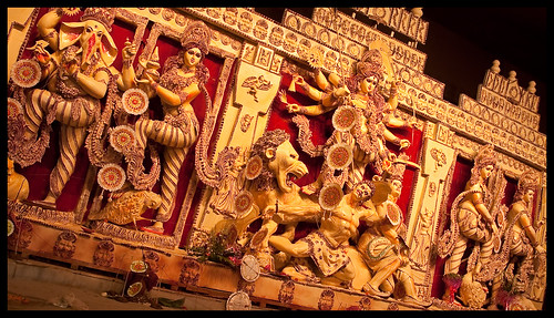 Panoramic view of the goddess Durga in all her glory