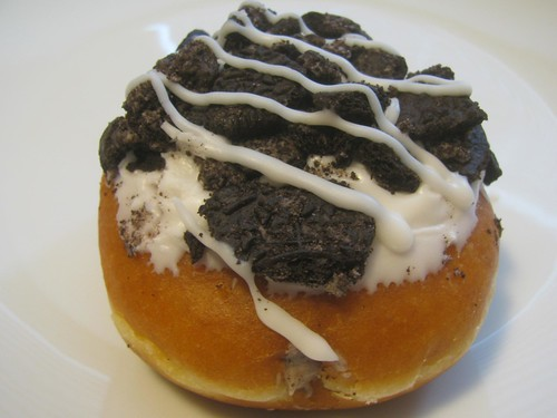 One Krispy Kreme cookies & kreme doughnut