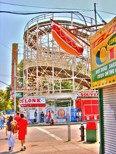Coney Island Cyclone Roller Coaster Sign Frankfurter HDR 2009