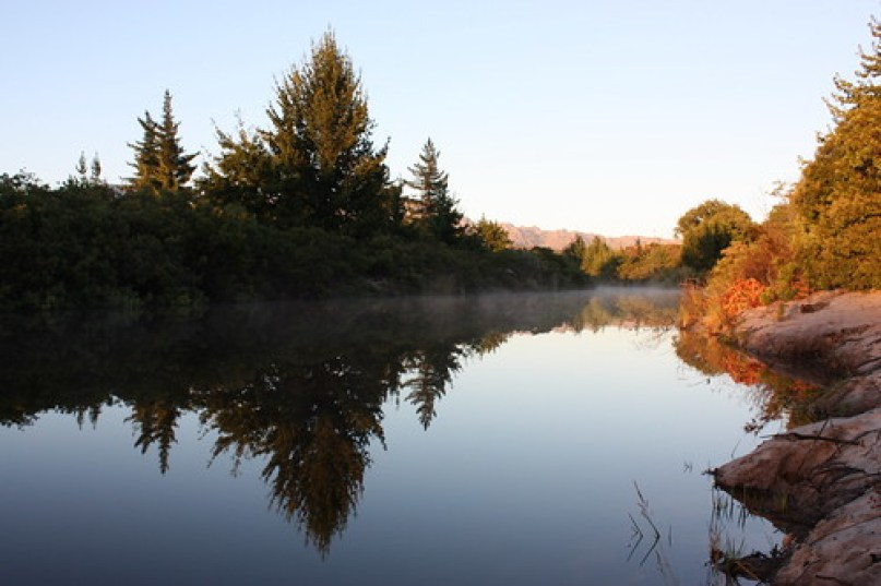 Sanddrif river, smokey water