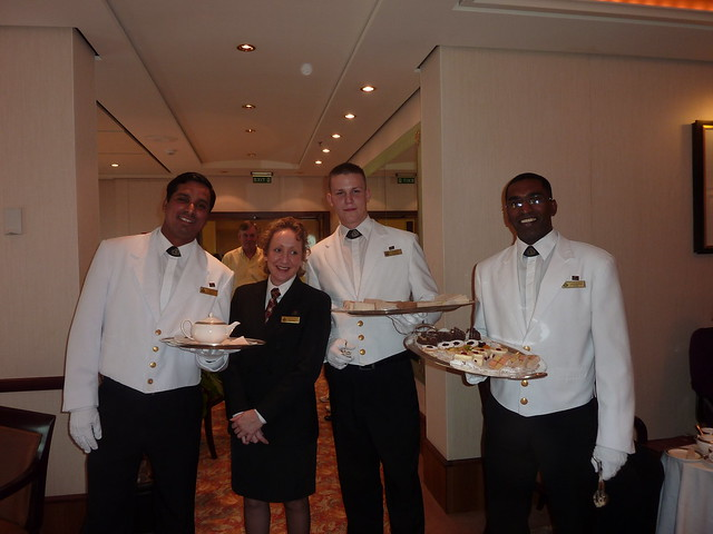 Queen Mary 2 waiters at afternoon tea