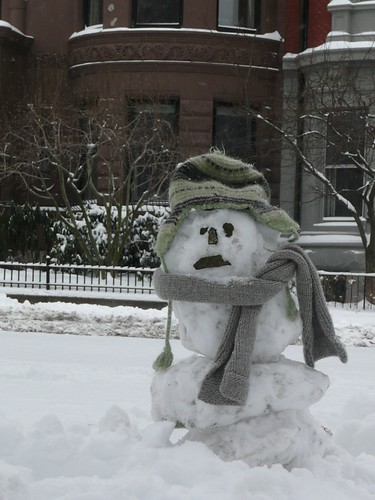 Sad snowman on Commonwealth Ave.