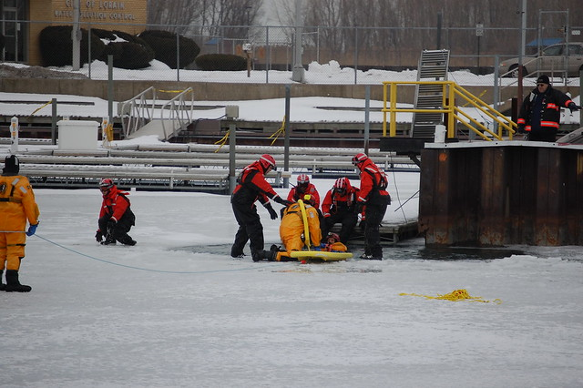 Lorain Fire Department And US Coast Guard Practing Ice Res