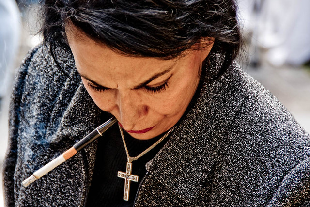 Woman With Cigarette Holder And Cross Flickr Photo Sharing