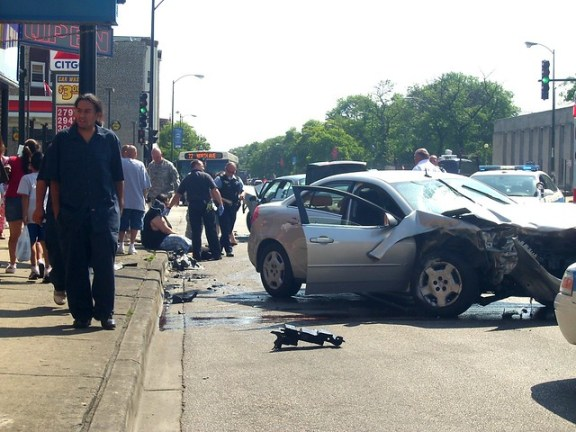 One of the frequent car crashes at North and Kedzie Avenues. Photo: Katherine Hodges.