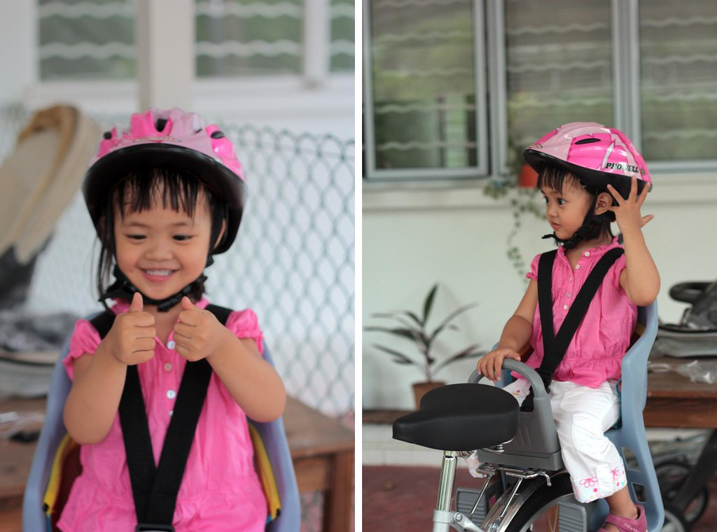 new pink helmet and carrier