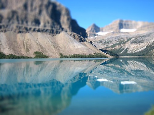 tilt shift, bow lake, canada.