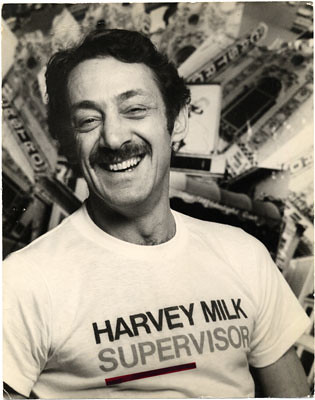 Harvey Milk at opening of 1975 campaign for Supervisor, 1975