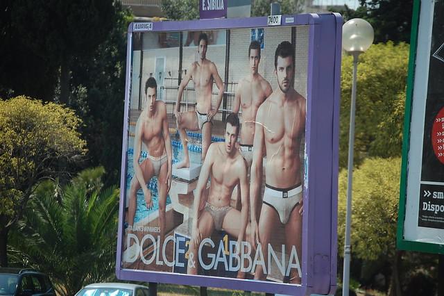 Italian swimmers on a billboard in Rome