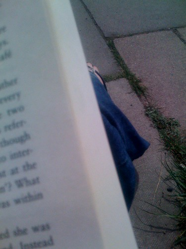 Reading at the bus stop