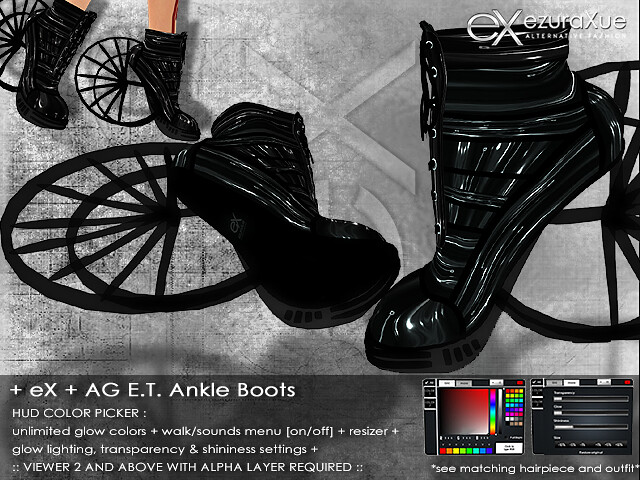 + eX + AG E.T. Ankle Boots *Black Set