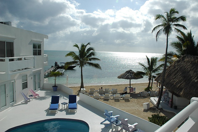 View from hotel room in Ambergris Caye