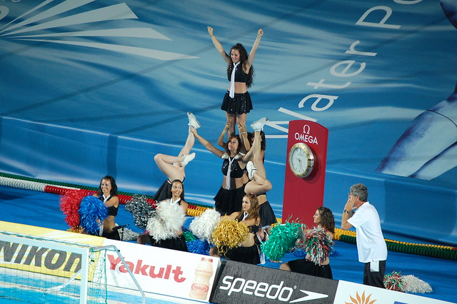 Cheerleaders (and coach?) at the Roma09 waterpolo final