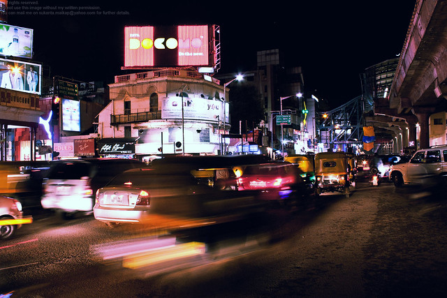 MG Road, Brigade Road crossing at night
