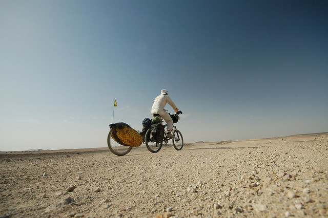 Riding the dirt roads in the Sahara