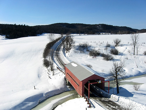 Red covered bridge in Quebec - Kite Aerial Photography