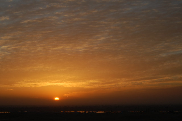 Sunset over the Nile valley in Egypt
