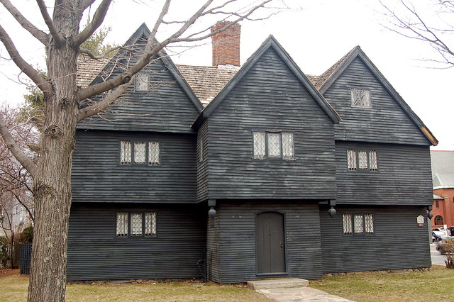 Black clapboard house - last surviving house connected to the Salem Witch Trials