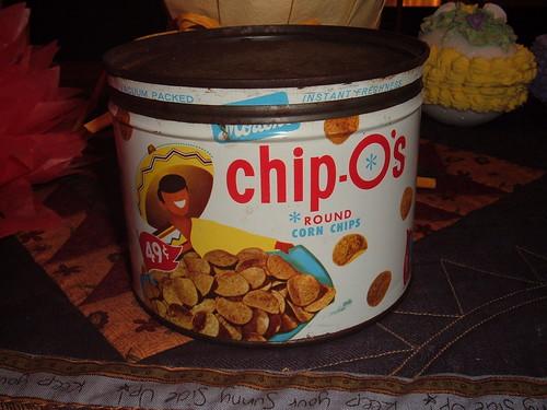 Chip-O's Corn Chips Keywind Tin Can