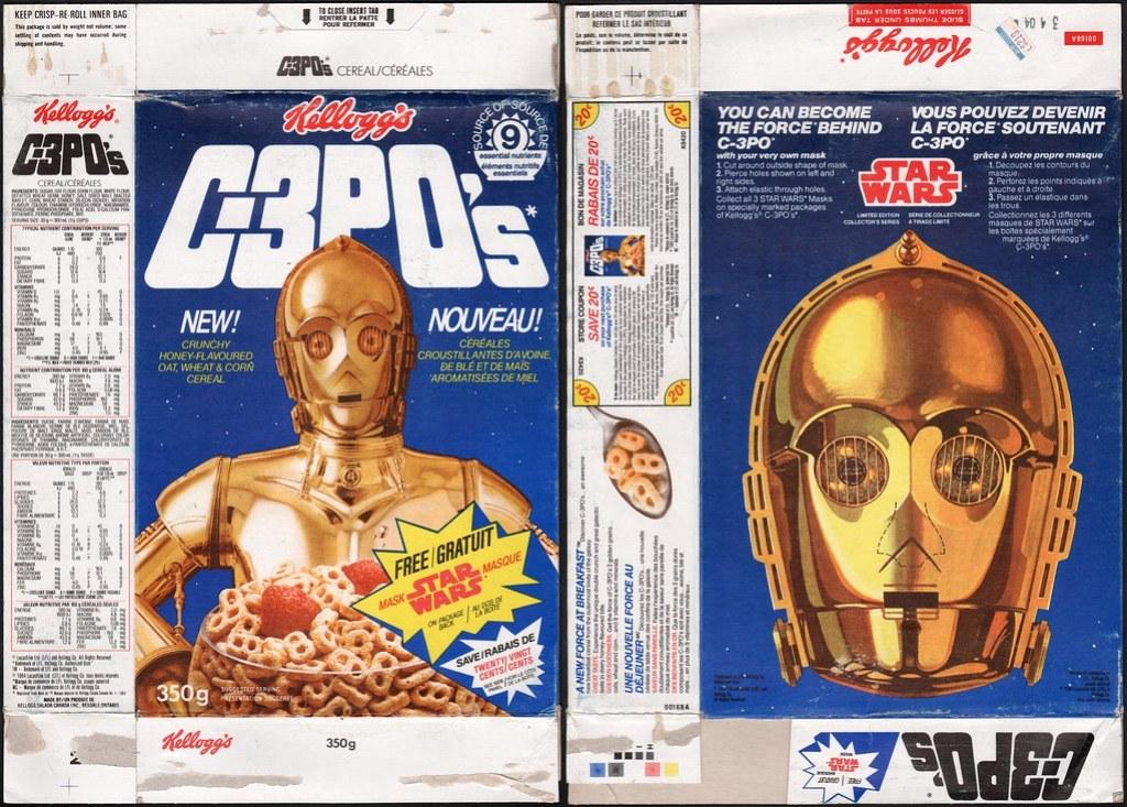 Canadian Kelloggs C-3PO's cereal box - Free Star Wars Mask - C3PO - 1984