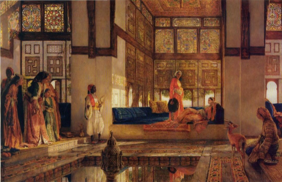 Recepción en la sala del Estanque. Frederick Lewis. Óleo sobre lienzo, 1873
