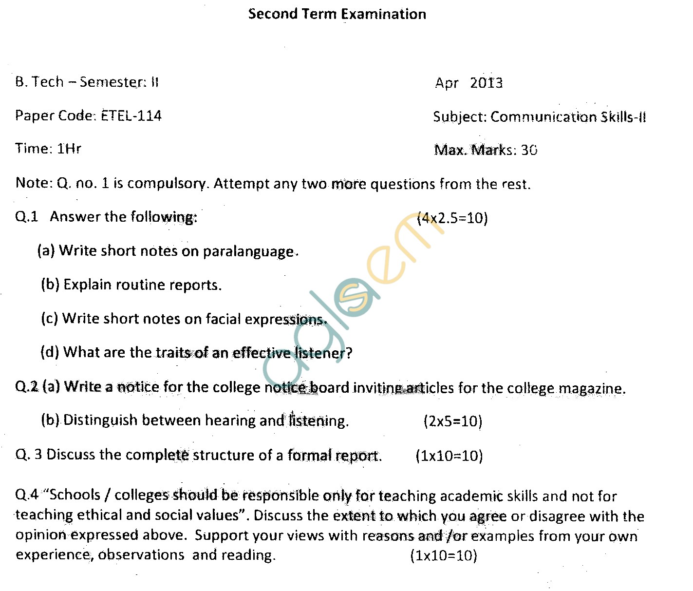GGSIPU Question Papers Second Semester – Second Term 2013 – ETEL-114
