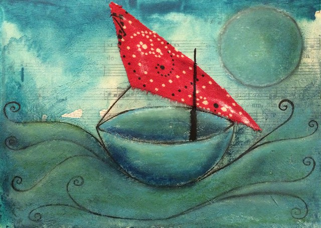 Coracle with Red Sail