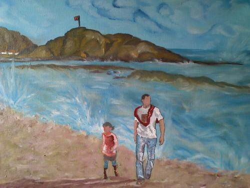 paseando por la playa : oleo en proceso by alialba