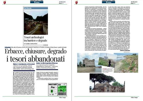 OSTIA ANTICA BENI CULTURALI - Scioperi e caos nei beni culturali: Erbacce, chiusure degrade I tesori abbondonati, Corriere della Sera (29/06/2013), p. 15. by Martin G. Conde