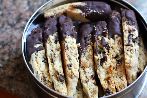 layers of cherry almond biscotti