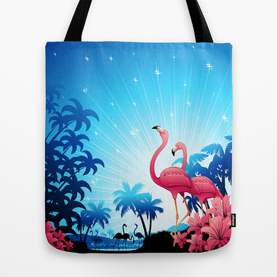 #Pink #Flamingos on #Blue #Tropical #Landscape #Tote #Bag by Bluedarkat by Bluedarkat Lem