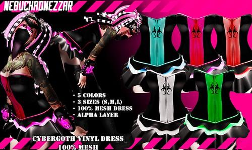 NDN - Cybergoth Vinyl Dress 100% Mesh