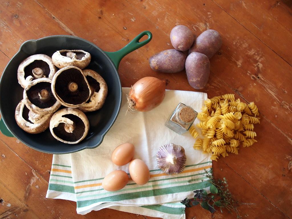 Carbonara meets winter vegetable fry up