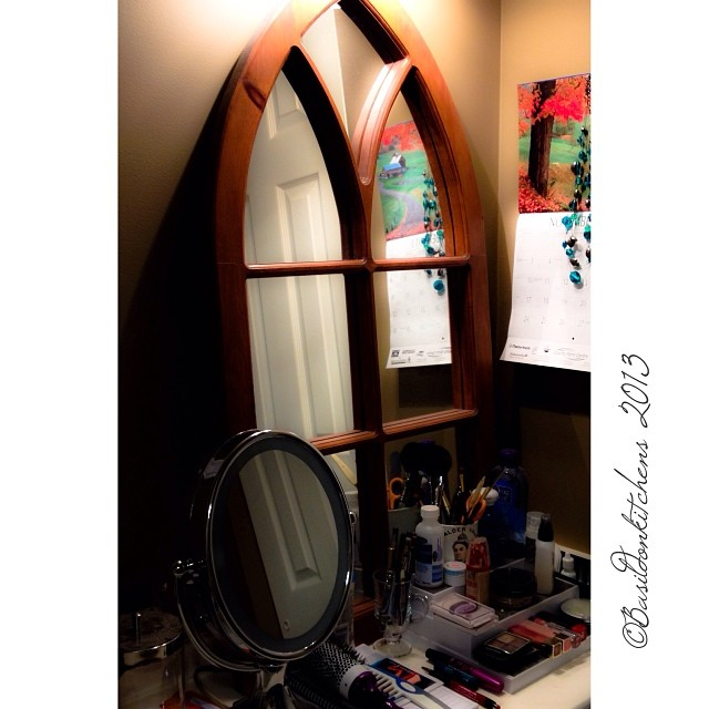 Nov 18 - mirror {my dressing table mirror made from an old gothic window} #fmsphotoaday #mirror #window #dressingtable