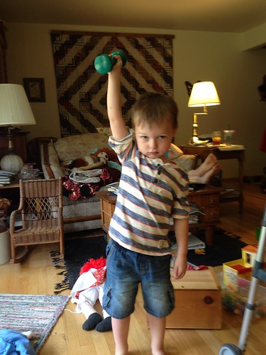 Lifting weights at Grandma's