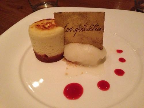 Nobu restaurant's cheesecake with honeymoon congratulations.