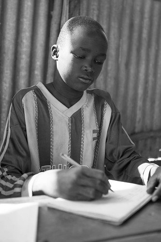 Temesgen Qoshme, 14,  attends a class in Alkatekach primary school