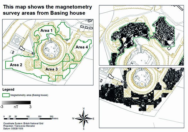 This map shows the magnetometry survey areas from Basing House. Figure by K. Strutt and C. Allen, 2013.