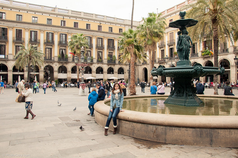 small square with fountain in Barcelona, Spain
