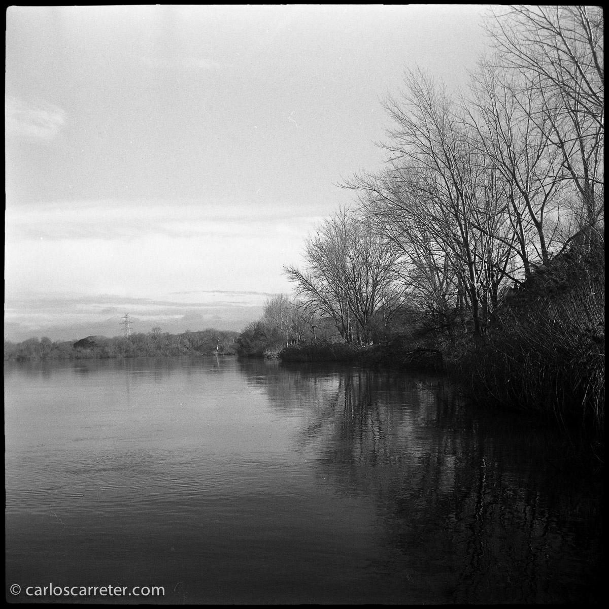 A orillas del Ebro en Escatrón (blanco y negro)