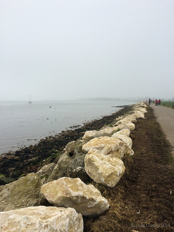 The sea wall is being repaired after the storms