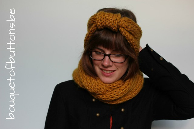 knitting, bow headband, circle scarf, breien, cirkselsjaal, stik haarband