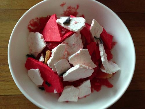 strawberry, cheesecake, rose geranium, graham, basil