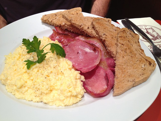 Scrambled eggs and bacon - Patisserie Valerie